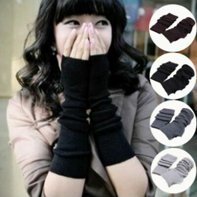 Arm Warmers Long Gloves Stretchy Mittens Knit Funk Hand Trendy Fingerless Gloves