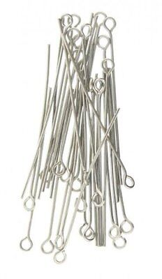 400 x 40mm  Silver Plated Eye Pins Jewellery Craft Findings FREE P+P UK Seller
