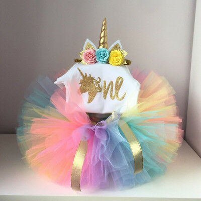 Newborn Baby Girls 1st Birthday Unicorn Romper Bodysuit Tutu Skirt Dress Clothes