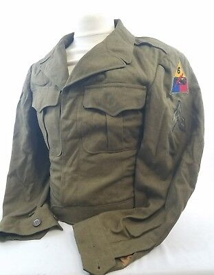 WW2 WWII US U.S. Ike Jacket,6th Armored Tank Division,Wool,Original,Dated,Rare