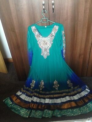 turquoise and blue traditional asian dress