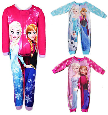 Disney Frozen Girls Fleece Pyjamas Jumpsuit Sleepwear, All In One Nightwear