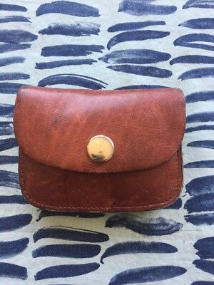 VTG Men Women Unisex Coin Bag Leather Change Purse Wallet Pouch Made In Brazil