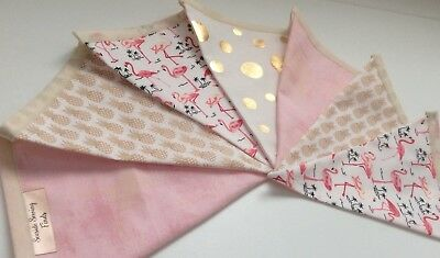 Girls Bunting Pineapple Flamingo Pink Metallic Gold Cotton Fabric Modern Design