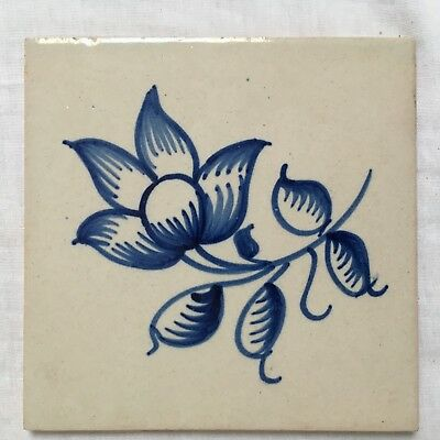 hand painted portuguese traditional Azulejo blue tile