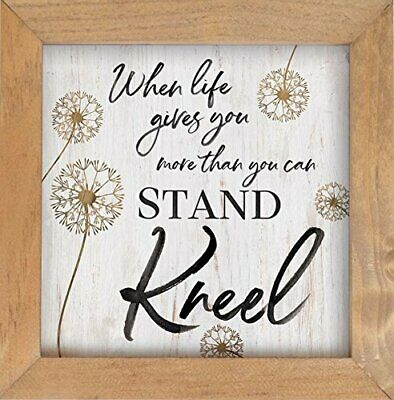 "When Life Gives More Than You Can Stand Kneel Dandelion 7x7"" Framed Wall Art"