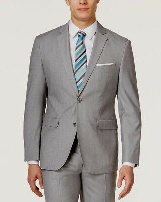 $595 Tommy Hilfiger Men Gray Wool Slim Fit Suit Jacket Sport Coat Blazer 42 R