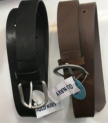 Old Navy Brown Classic Leather Belt w/ Silver Buckle Boys  Lot of 2