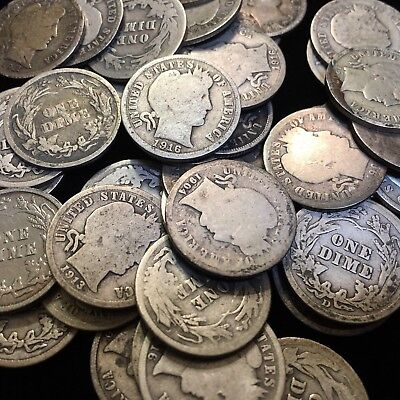 "90% Silver Barber Dimes $1 Face Value ""Junk Silver"""
