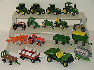 John Deere & Others 17 Piece Lot Farm Machinery Tractor Set