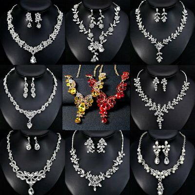 Fashion Wedding Bridal Rhinestone Necklace Earring Jewelry Set Women Party Gift