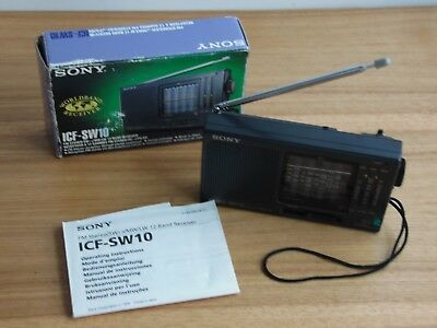 Sony ICF-SW10 12 Band FM/LW/MW/SW (1-9 Band) Radio Receiver tested box with info