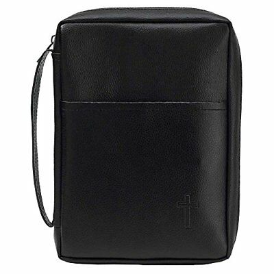 Black Cross 8.25 x 11.25 Leather Like Vinyl Bible Cover Case with Handle X-Large
