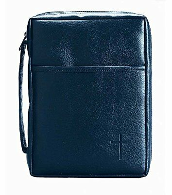 Blue Embossed Cross with Front Pocket X-Large Leather Look Bible Cover