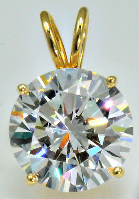 10 ct Ideal Cut Original Vintage Russian Cubic Zirconia 14 kt Gold Over Silver