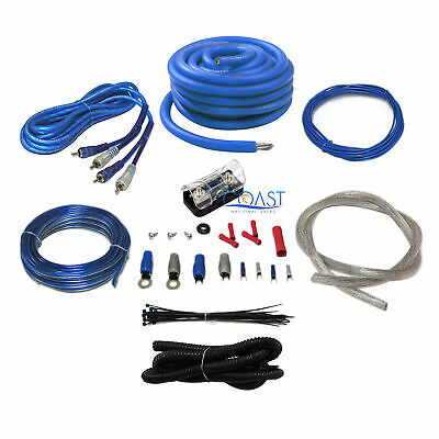 Bullz Audio Complete Pro 4 Gauge 2000W Blue Amplifier Power Wiring Install Kit