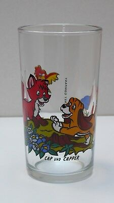 Disney, Cap und Capper, Trinkglas, 1989 The Walt Disney Company, France, Reims
