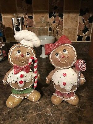 New Sold Out Set Of 2 Larger Size Gingerbread Boy & Girl Holding Candies Figure