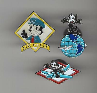 FELIX The CAT Hat / Lapel Pin Lot of 3 Air Felix