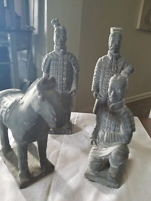 A Set of Rare Old Collectible Chinese Vintage Terra Cotta Warriors Statues