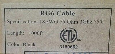 1000' Black RG6 Dual Shield Solid Copper 18AWG Cable w/ Messenger 75Ω