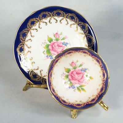 Aynsley Teacup & Saucer - White/Cobalt Blue With Rose Centers