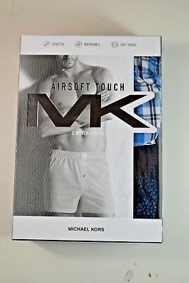 Nib Mens Michael Kors Airsoft Touch Blue Woven Boxer Underwear 2 Pack Size S-L