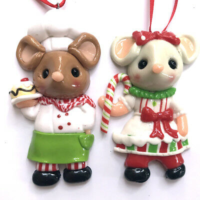 MOUSE COUPLE ORNAMENTS Candy Cane Christmas Boy Girl Candy Shop Fake Food Mice