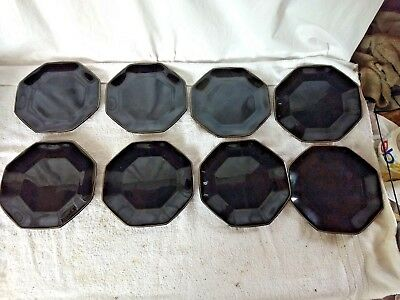 """Arcoroc Octime Black Lunch Plates Octagon France - 8- Piece 7 3/8"""" w/ Gold Edge"""