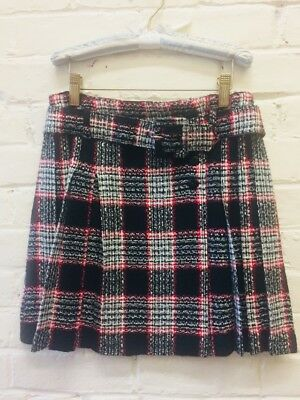 Vtg L XL Girl Tweed Plaid Acrylic Skirt Kilt Big Belted