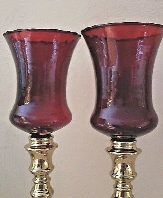 "2 Vtg Home Interior 4.5"" Tall RUBY RED Candle Holders Votive Cups Sconce Scallop"