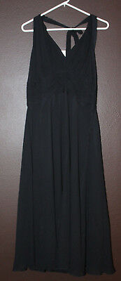 Donna Morgan black halter chiffon 100% silk size 16 evening dress New with tags