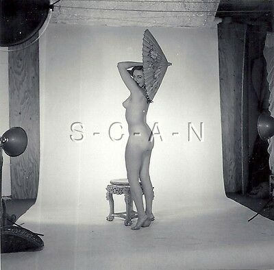 Original Vintage 1960s Amateur Artistic Studio Nude RP- Woman- Umbrella- Butt