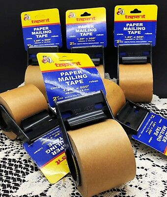 "Lot of 5 Tape-It 2"" x 400"" Paper Mailing Shipping Tape 1.89"" x 500"" Brown Kraft"