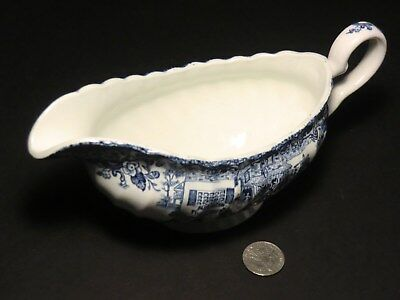 Gravy ~ Sauce Boat - China - Made in England - Blue on White - Tally-Ho!
