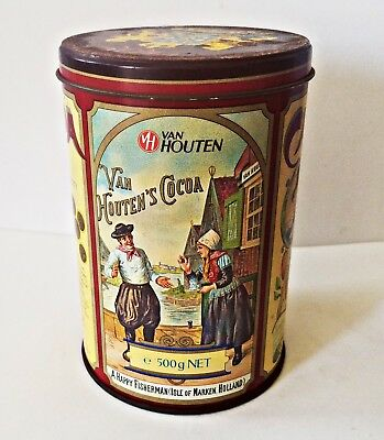 FULL CAN of COCOA Vintage Van Houten's Cocoa 17.6 oz. Advertising Tin W Germany