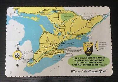 VTG 1963 Ontario Canada American Express Paper Place Mat Mid Century Travel