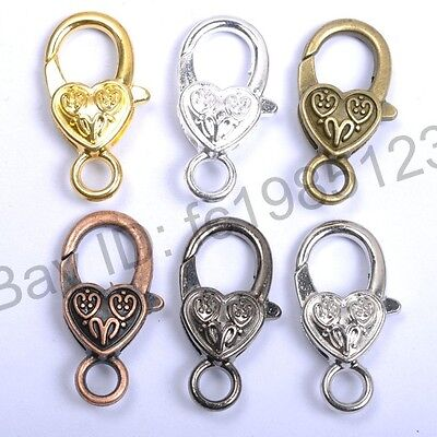 10Pcs Gold Silver Plated Bronze Copper & Floral &Charms Heart Lobster Clasps