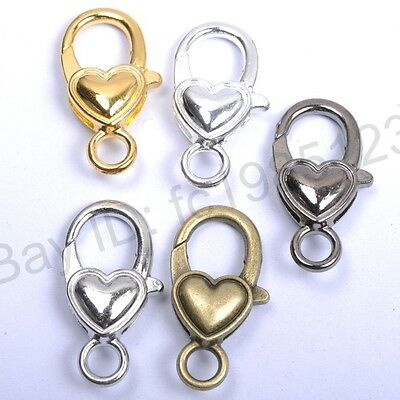 10Pcs Gold Silver Plated Bronze Copper & Shiny & Charms Heart Lobster Clasps