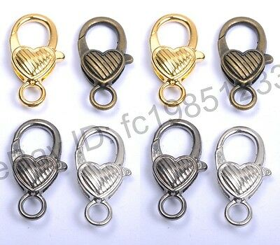 10Pcs Gold Silver Plated Bronze Copper & Twill & Charms Heart Lobster Clasps