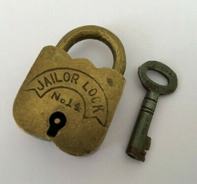 Old Vintage Solid Brass Lock With Key Rich Patina Collectible Jailor lock no 14