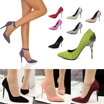 Women High Heels Suede Pointed Toe Pumps Sexy Stiletto Wedding Party Shoes Size