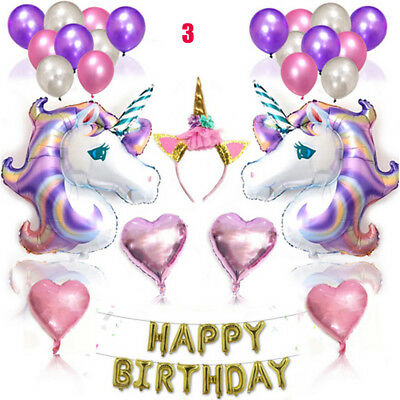 Balloon Set Unicorn Kids Birthday Party Supplies Banner Decoration Colorful AU
