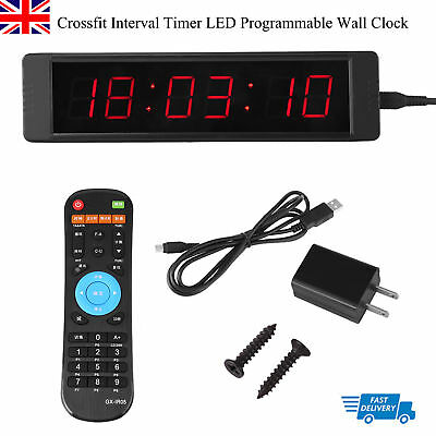 Crossfit Interval Timer LED Programmable Wall Clock w/ Remote for Tabata Fitness