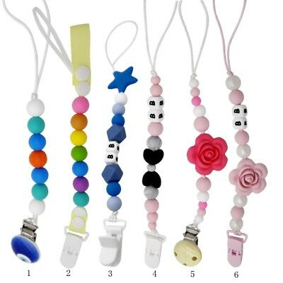 US Baby Silicone Pacifier Holder Clip Chain Dummy Nipple Teether Beads Strap