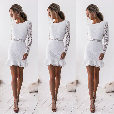 Fashion Sexy Women Slim Long Sleeve Backless Party Evening Cocktail Lace Dress