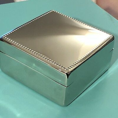 Lenox Mirror Silverplate Dot Square Trinket Ring Jewelry Tooth Fairy Box ENGRAVE