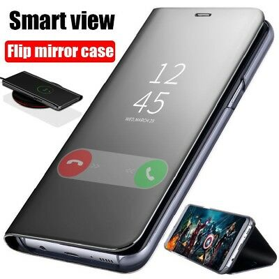 Luxury Clear View Mirror Flip Leather Smart Case Slim Cover For Samsung Galaxy D