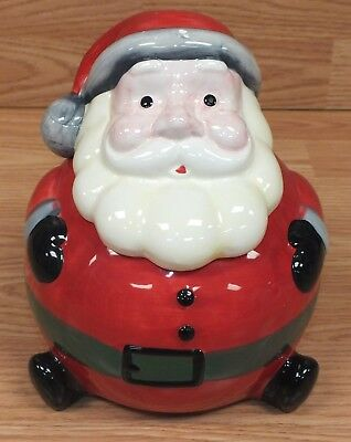 Everyday Gibson Round Fat Ceramic Santa Clause Christmas Cookie Jar READ