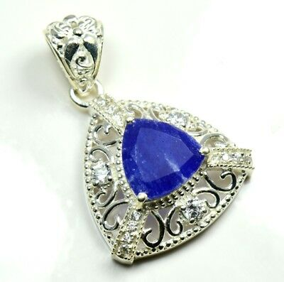 Natural Indian Sapphire Pendant Necklaces For Women Sterling Silver Handcrafted